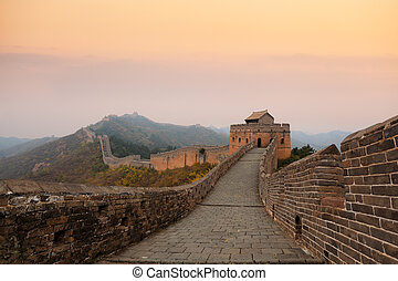 great wall of china in autumn dusk - the great wall of china...