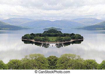 Island in Loch Tummel - Island in the middle of Loch Tummel,...