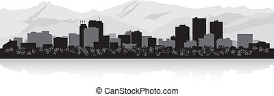 Anchorage city skyline silhouette - Anchorage USA city...