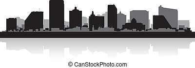 Atlantic city skyline silhouette - Atlantic city USA skyline...