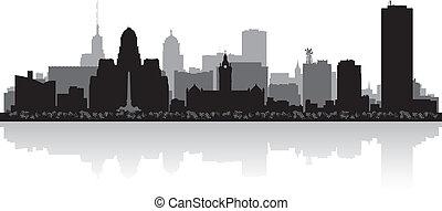 búfalo, ciudad, contorno, silueta