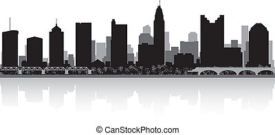 Columbus city skyline silhouette - Columbus USA city skyline...