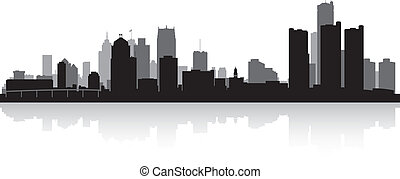 Detroit city skyline silhouette - Detroit USA city skyline...