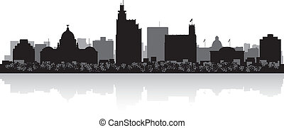 Jackson city skyline silhouette - Jackson USA city skyline...