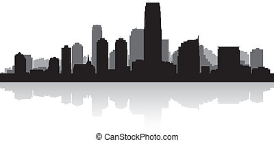 Jersey city skyline silhouette - Jersey city USA skyline...