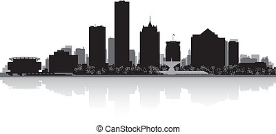 Milwaukee city skyline silhouette - Milwaukee USA city...