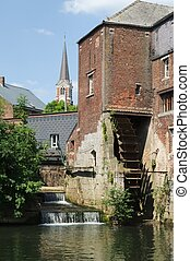 Mill of Arenberg and its waterwheel,Rebecq, Belgium. 15th...