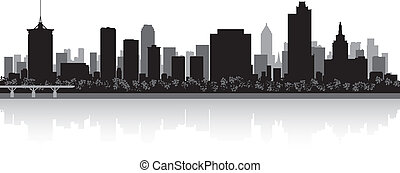 Tulsa city skyline silhouette - Tulsa USA city skyline...