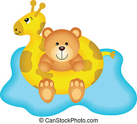 Teddy Bear in Giraffe Buoy - Image representing a teddy bear...
