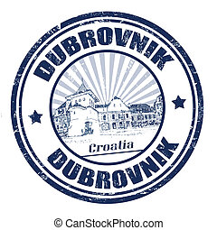 Dubrovnik stamp - Blue grunge rubber stamp with the name of...