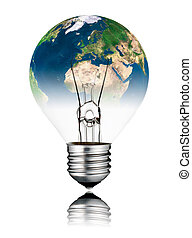 Lightbulb switched OFF - World Globe Europe and Africa -...