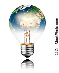 Lightbulb switched ON - World Globe Europe and Africa -...