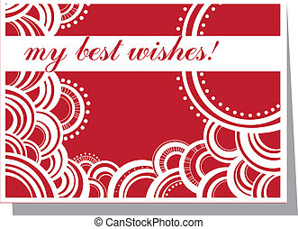 my best wishes! - red and white card with best wishes!