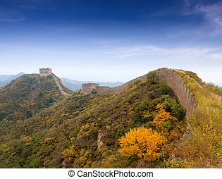 the great wall autumn scenery in hebei province, China...