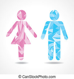 Abstract triangle male and female icon ,vector illustration