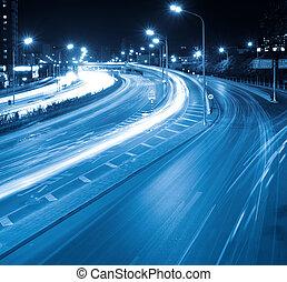 night traffic in modern city