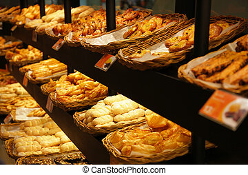 Bakery - Various bread type on shelf in Bakery shop