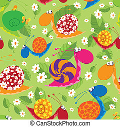 seamless snails with flowers and leaves - illustration of a...