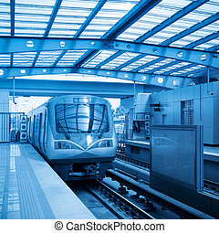 beijing subway train with blue tone