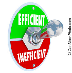 The words Efficient and Inefficient on a toggle switch for...