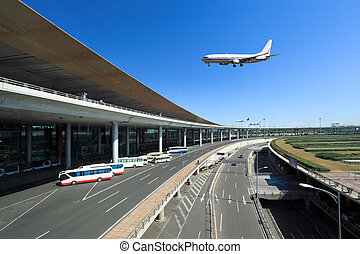 flight arrival in the beijing capital airport in terminal 3
