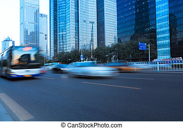 modern city street with vehicle motion blur