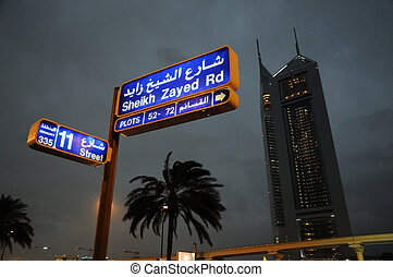 jeque,  Dubaï,  zayed, camino, noche
