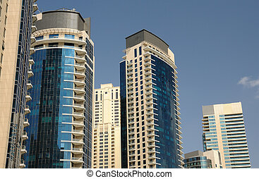 Modern highrise buildings in Dubai Marina, United Arab...