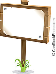 Cartoon Wood Sign - Illustration of a cartoon wood sign with...