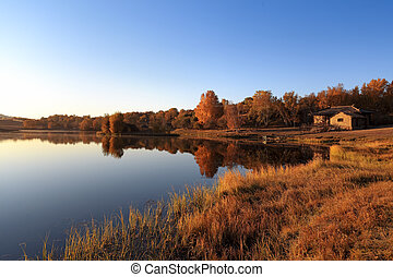 tranquil lake in autumn