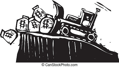 Bulldozing Money - Woodcut style image of a bulldozer...