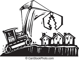 Shrinking City - Woodcut style image of a crane getting...