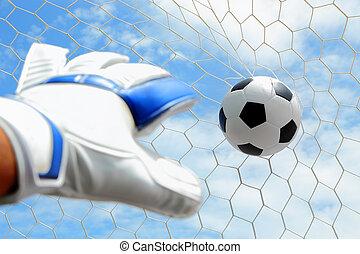 Goalkeeper's, hands, fail, catching, soccer, ball, net, s