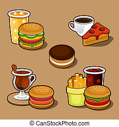Set of colorful cartoon fast food and cake. - Set of...