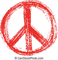 Red peace symbol created in grunge style. eps8