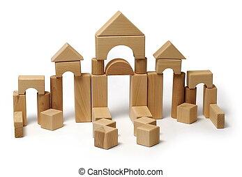 madeira, brinquedo, bloco
