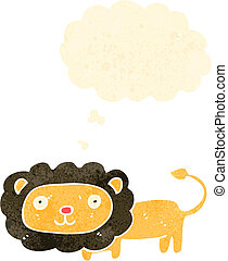 retro cartoon lion with thought bubble