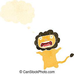 retro cartoon cowardly lion