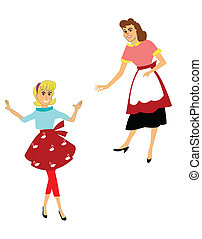 retro moms - mothers posing alone with aprons