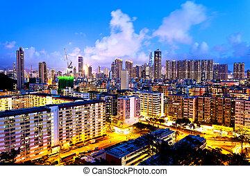 Hong Kong crowded urban at night