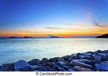 natura, tramonto, scena, composizione
