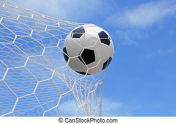 Soccer ball shoot to goal in game - Association football,...