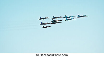air display - fighter squadron at air-force show...