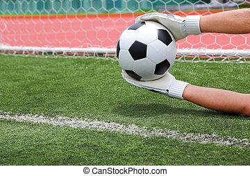 Goalkeeper's, hands, catching, soccer, ball, over, line,...