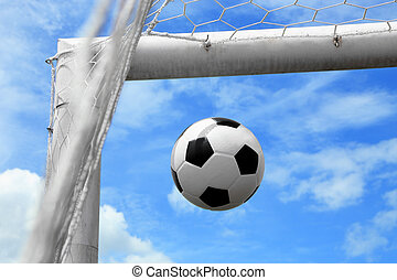 Soccer ball shoot to goal in triangle - Association...