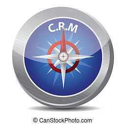crm guide. compass illustration design over a white...