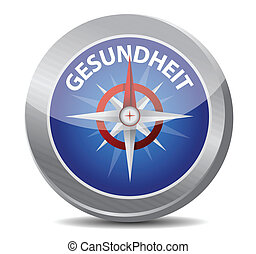 guide to great health in german. compass illustration design...