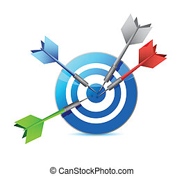 everyone hits the target target and goal illustration design...
