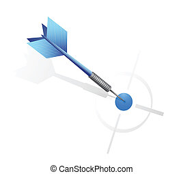 blue dart hitting the target. illustration