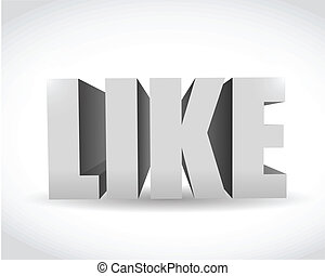 3d social media like text illustration design over white